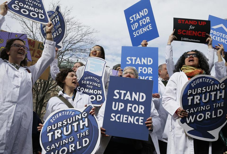 Scientists, science advocates, and community members rallied in Copley Square last February.